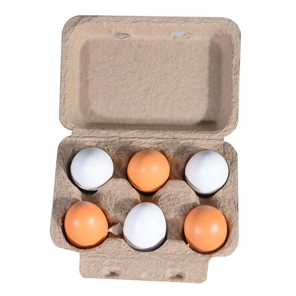 6pcs Wooden Easter Eggs Yolk Pretend Children Play Kitchen Game Food Kids Toy