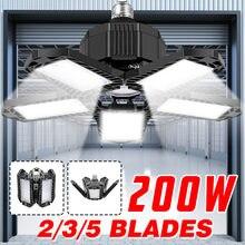 Novo 200w 5 painéis ajustáveis conduziu a luz da garagem e26/e27 deformable luz de teto armazém lâmpada iluminação para casa oficina