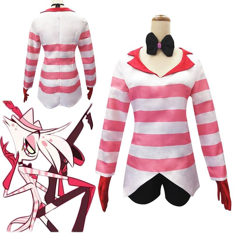 Hazbin маскарадный костюм от отеля Dust Angel, Униформа, женские наряды, Disfraz, топы, шорты, карнавальные костюмы на Хэллоуин, C90C32