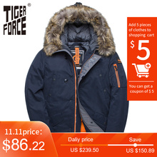 Winter Jacket Coat Padded Parkas Tiger-Force Big-Pockets Artificial-Fur Thick Men Long