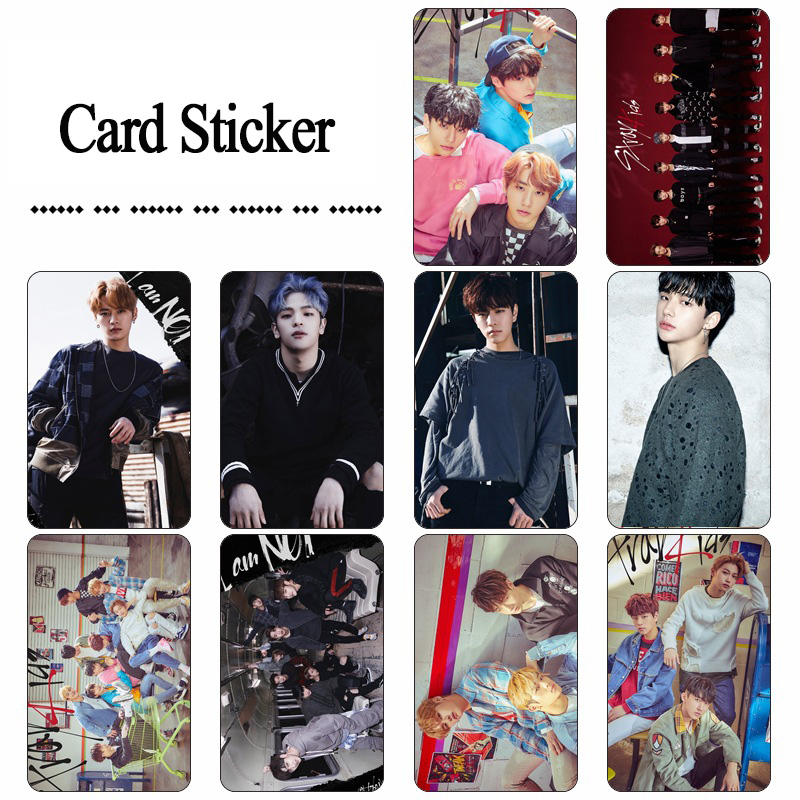 10PCS KPOP Stray Kids BANG CHAN <font><b>KIM</b></font> WOO JIN LEE MIN HO SEO CHANG BIN Post Card Photocard <font><b>Sticker</b></font> Card Bus <font><b>Sticker</b></font> Card image