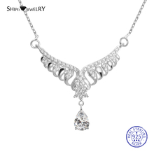 Shipei 100% 925 Sterling Silver Fine Jewelry Water Drop White Sapphire Angel Love Wings Pendant Necklace for Women Birthday Gift u7 100% 925 sterling silver 3d little angel necklace for girl women birthday gift dainty jewelry silver 925 chain