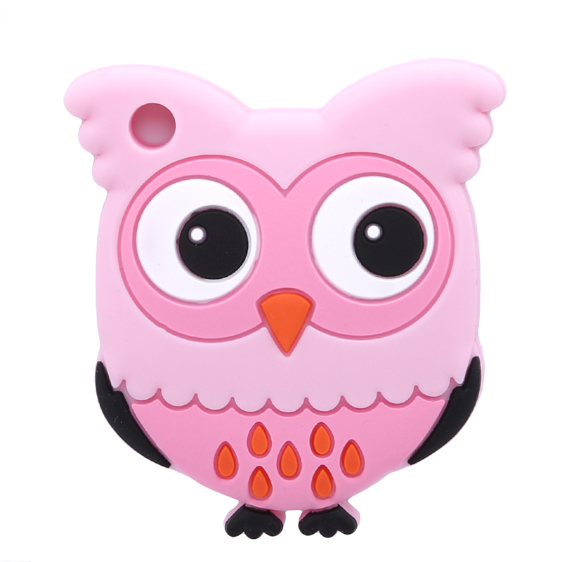 1pc Owl Shape Teether Necklace Pendant Pacifier Chain Baby Teether Play Toys Nursing Food Grade Silicone BPA Free Clean Teether