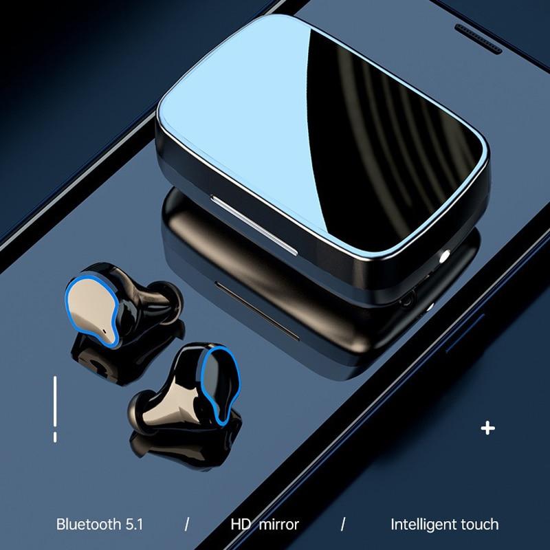 BKM Bluetooth 5.1 Earphones 2000mAh Charging Box Wireless Headphone 9D Stereo Sports Waterproof Earbuds Headsets With Microphone