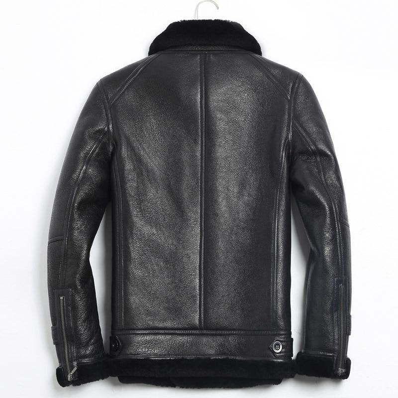Leather Men Real Winter Jacket Men's Sheep Shearling Fur Coat Warm Wool Jackets Jaqueta De Couro 125-1 YY802