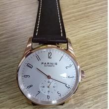 Neue Parnis Weißes Zifferblatt Rose Gold Fall Mechanische Automatische männer Uhren Taucher Minimalist Männer Uhr Armbanduhr Luxus Wasserdicht