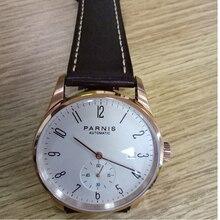 Parnis novo relógio de pulso mecânico automático, relógio masculino de luxo, indicador branco em ouro rosado, minimalista, de pulso, à prova dágua