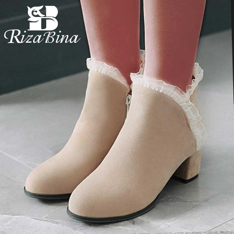 RizaBina Size 34-43 Nữ Cao Gót Giày Boots Nữ Gót Dày Ngọt Mắt Cá Chân Giày Nữ Hàn Quốc Người Phụ Nữ mùa Thu Giày