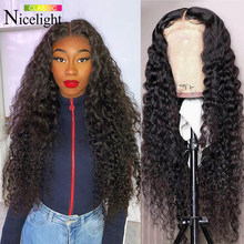 Nicelight Water Wave Wig Closure Wigs Pre-Plucked Hairline Peruvian Remy Hair Lace Closure Wig For Women Curly Human Hair Wigs