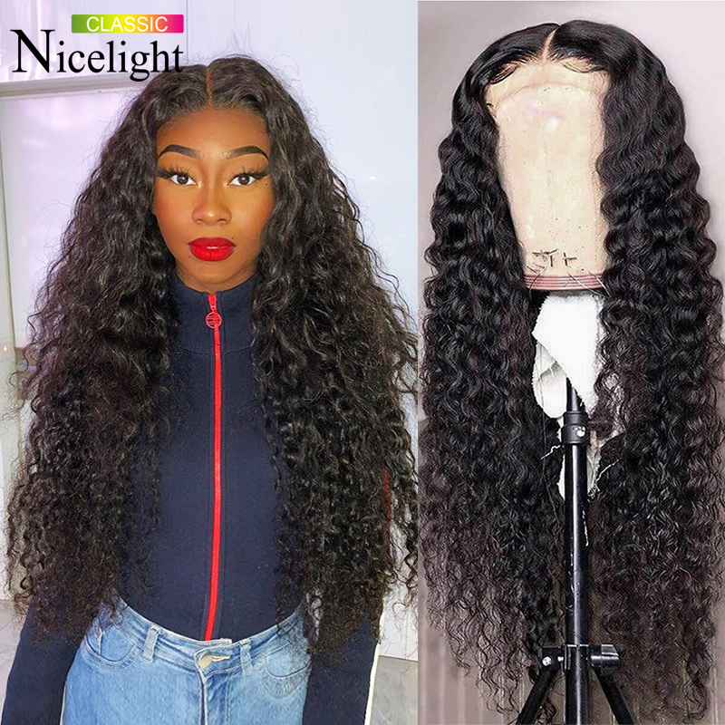 Nicelight su dalgası peruk kapatma peruk ön-koparıp Hairline perulu Remy saç dantel ön peruk kadınlar için kıvırcık insan saçı peruk