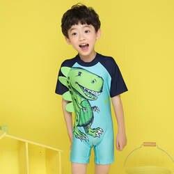 2018 новый стиль, хит продаж, цельные шорты с круглым вырезом на молнии с короткими рукавами с рисунком динозавра, Детские купальники для