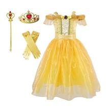 Toddler Girls Off Shoulder Layered Princess Dress Set Long Gloves Tiara Crown Fairy Wand Party Cosplay Costume Accessories(China)