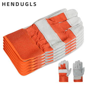 HENDUGLS 5pcs Work Gloves Men Working Welding Gloves Safety Protective Wear-resisting Gloves Free Shipping QY1643 kopilova 1pairs welding gloves cow suede lengthen fire proof sputtering protection gloves wear resisting for finger protection