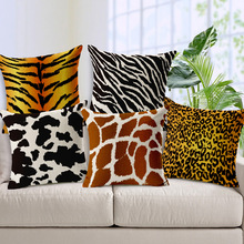 Decorative throw pillows Animals Textures Zebra leopard tiger giraffe cotton linen seat cushion cover for sofa