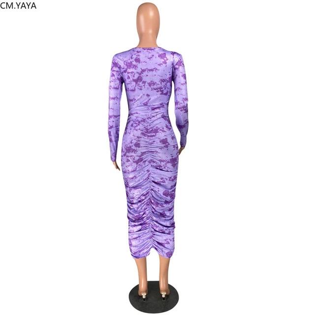 CM YAYA Autumn Sexy Club Night Party Women Tie Dye Galaxy Print Long Sleeve Bodycon Stacked Ruched Maxi Midi Dress Active Wear