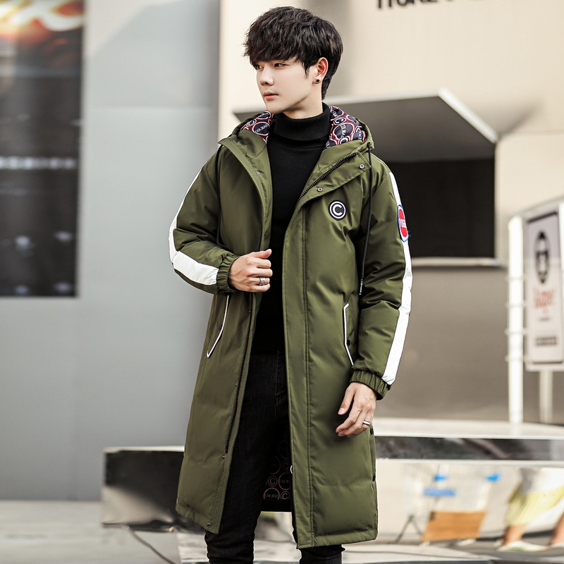 Winter thick warm Green   Down     Coat   Male Fashion Casual Pocket Medium zippe Long White Duck   Down   Jacket Men New Solid Color Hooded
