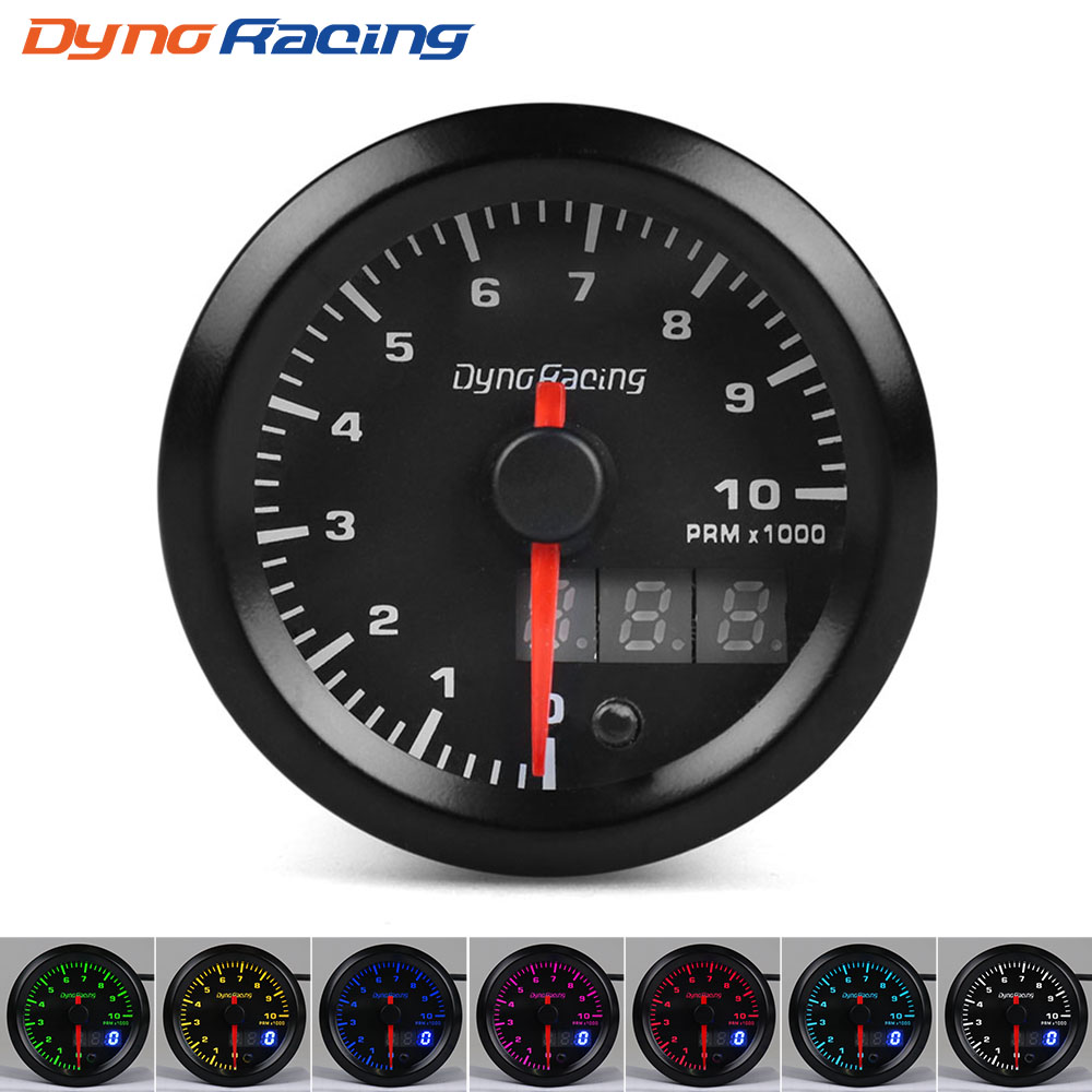 Dynoracing-52mm-Dual-Display-Tachometer-0-10000-Rpm-Gauge-7-colors-Led-Car-Meter-With-Stepper