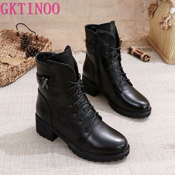 GKTINOO Women Ankle Boots Genuine Leather Side Zipper Shoes Woman High Heels 2020 Fashion Winter Motorcycle - discount item  52% OFF Women's Shoes