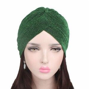 Image 3 - Helisopus 2020 Women Fashion New Shiny Turban Stretchable Soft Bright Hat Muslim Style Hijab Turban Head Wraps
