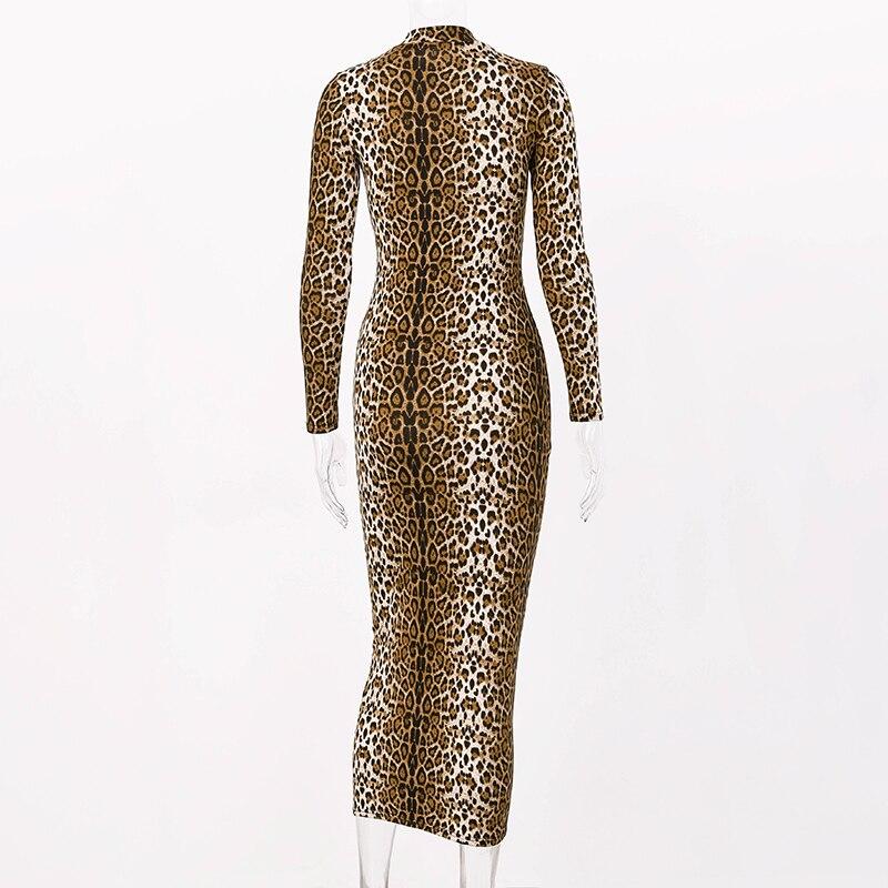 Hugcitar leopard print long sleeve slim bodycon sexy dress 2019 autumn winter women streetwear party festival dresses outfits