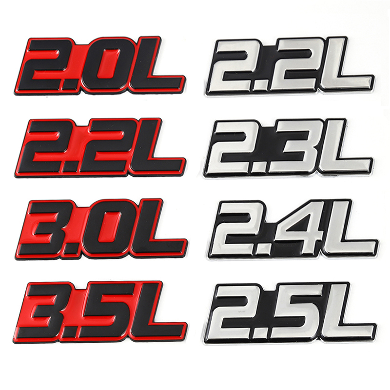 Металлическая 3D наклейка для автомобиля, 2.0L 2.2L 2.3L 2.4L 2.5L 2.8L 3.0L 3.5L логотип, эмблема, значки, наклейки для BMW Audi Volkswagen Ford Toyota Honda