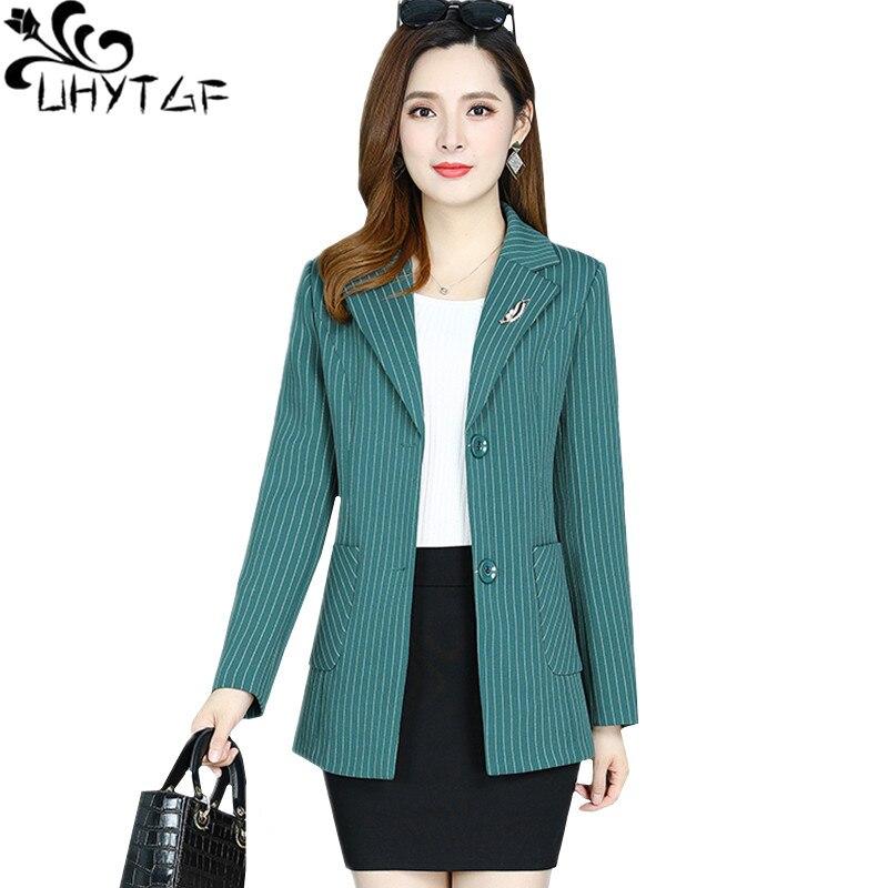 UHYTGF   trench   coat woman clothes fashion striped spring autumn windbreaker female long sleeve short coat 5XL Plus size tops 348