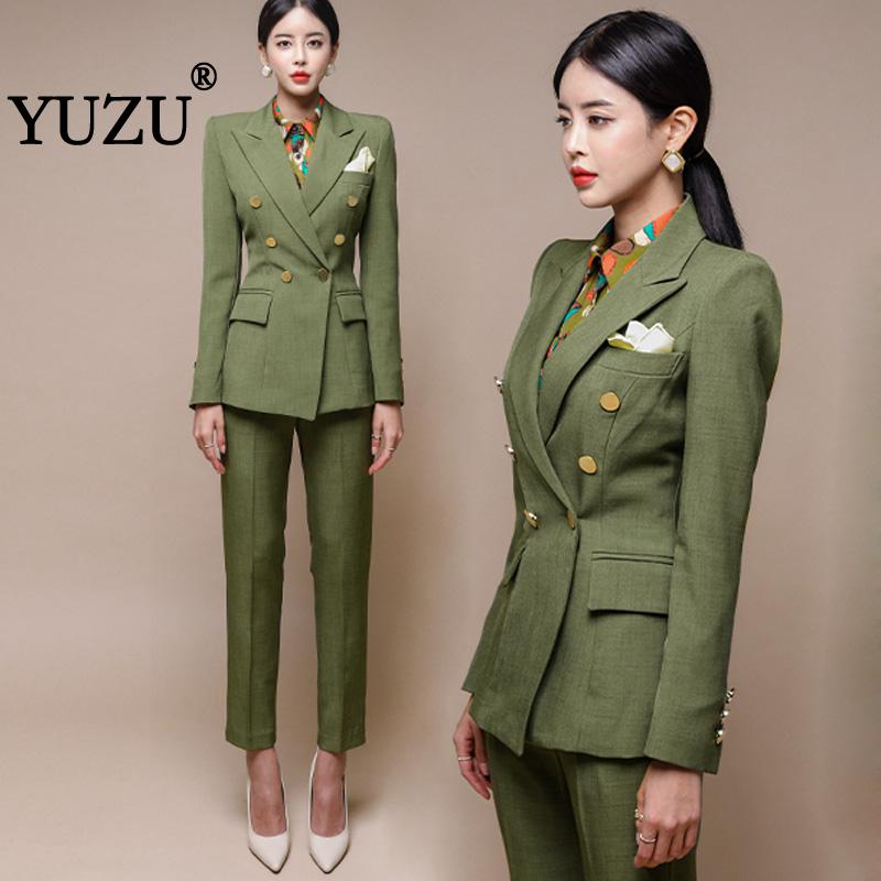 Green Retro Blazers For Women Pant Suits 2 Piece Set Office Winter Office Work Business Long Sleeve Double Breasted Outerwear