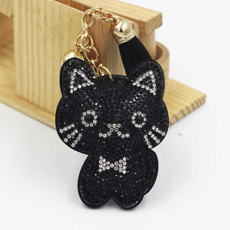 Cute Cartoon Cat Tassel Pendant Leather Keychain Crystal Rhinestone Handbag Car Pendant Key Holder Gift Key Chain