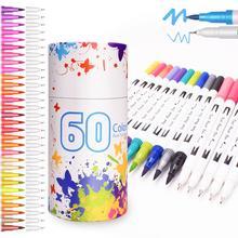 مجموعة أقلام دائمة لوازم الفن للفنان المهنية قلم رسم Touchfive علامات القلم المزدوج برأس فرشاة 60 لونا