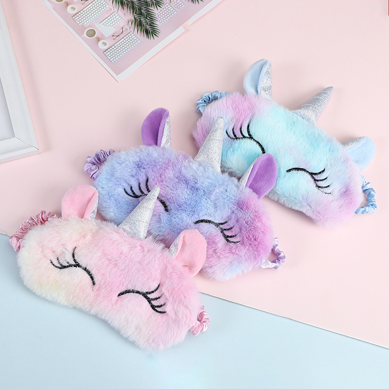 Unicorn Plush Eye Mask Colorful Fur Sleeping Eye Band For Women Winter Travel Cute Cute Animal Eye Cover Blindfold