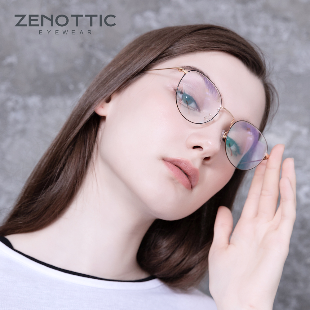 ZENOTTIC Retro Metal Glasses Frame Women Optical Spectacle Frame Anti Blue Light Eyeglasses Frame For Men Women Eyewear BT7088