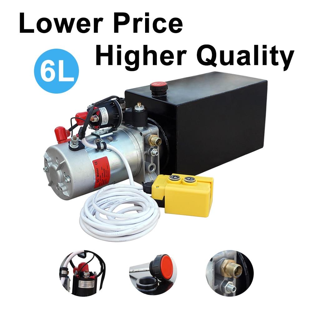 6L kahepoolse toimega elektrilise hüdropumba toiteallika komplekt, tõstke DC 12V mootor järelhaagise jaoks