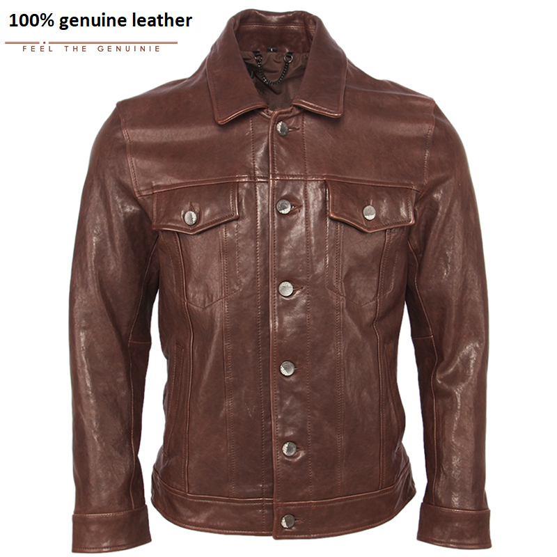100% Tanned Sheepskin Men Real Leather Jacket Super Quality Soft Slim Fit Genuine Leather Jacket Male Skin Coat Autumn M440