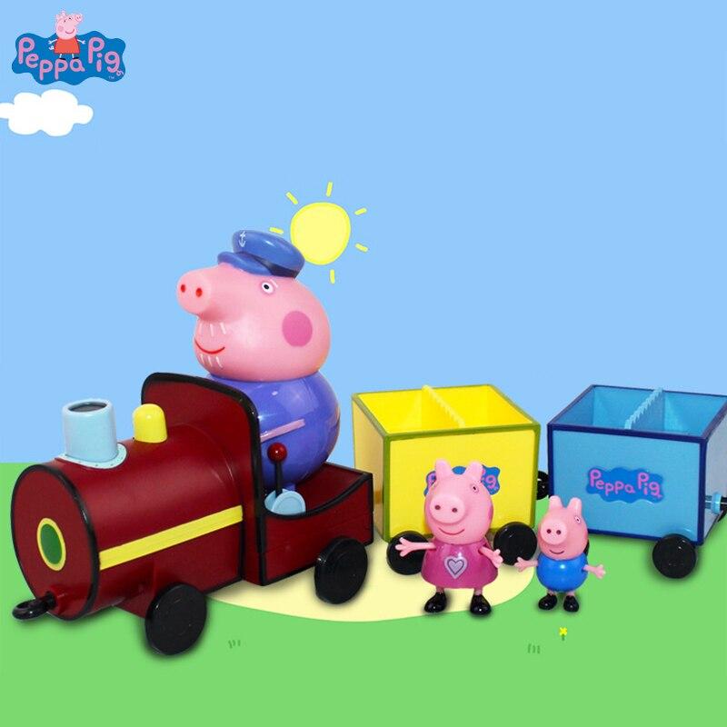 Original Peppa Pig Toys Grandpa's Train Peppa Pig Family Dolls Action Figure Toy Kids Birthday Christmas Gift