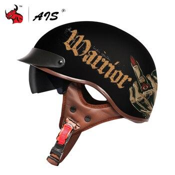 AIS Motorcycle Helmet Retro Scooter Half Helmet With Built-in Lens Visor Casco Moto Helmet Moto Capacete Motorbike Riding Helmet