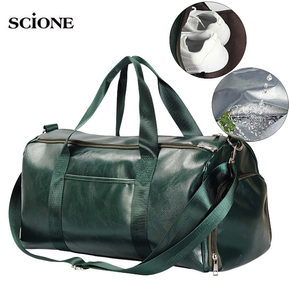 Dry Wet Pu Leather Gym Bag Fitness Training Bags With Shoes Ppocket Travel Shoulder Bag Women Men Sports Trip Solid Bags XA64+A