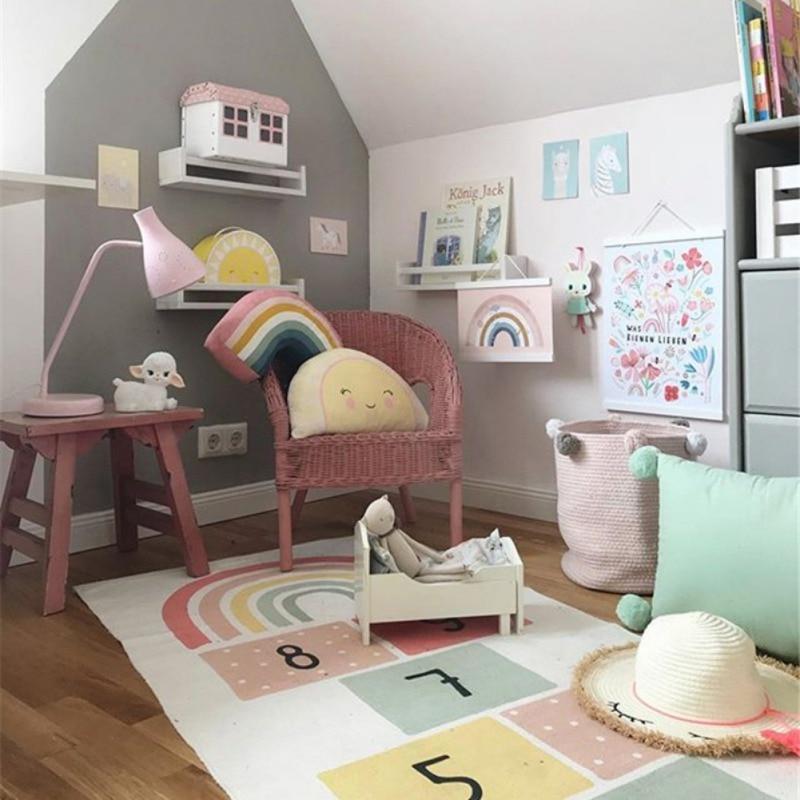 Hopscotch Games Kids Carpet Bedroom Kids Non Slip Rug Figures Print Floor Mat Playmat Bright Color