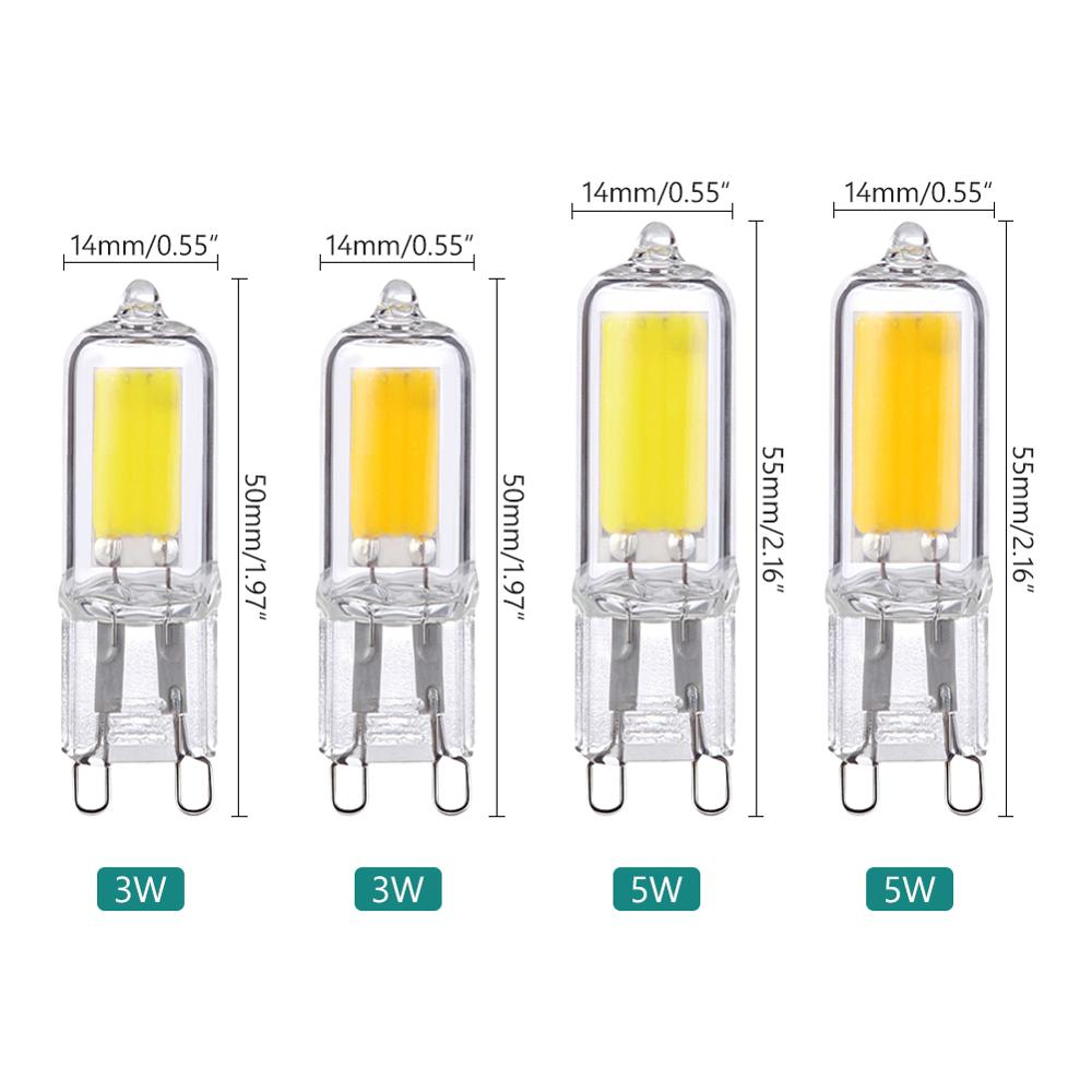 New Brand G9 LED Light Bulbs Halogen Lamp 3W/5W 360°Beam Angle Glass COB Lamp Home Lighting AC 220V Energy Saving Eco-friendly