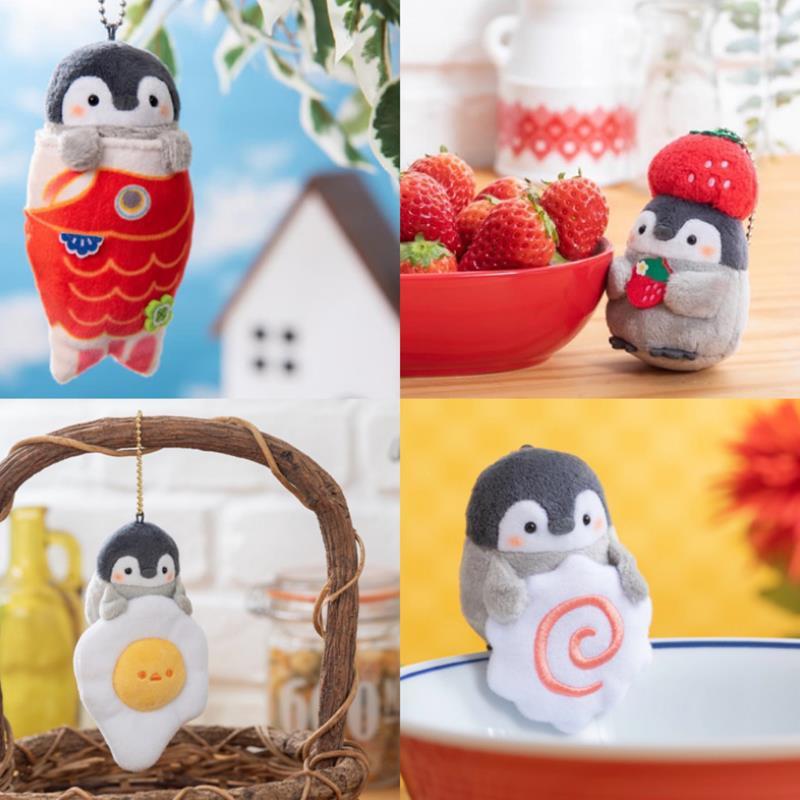 1pc Neue Nette Tier Pinguin Koi Erdbeere Ei Serie Gefüllte Plüsch Spielzeug Schöne Plüsch Puppe Rucksack Anhänger für Kinder mädchen Geschenk