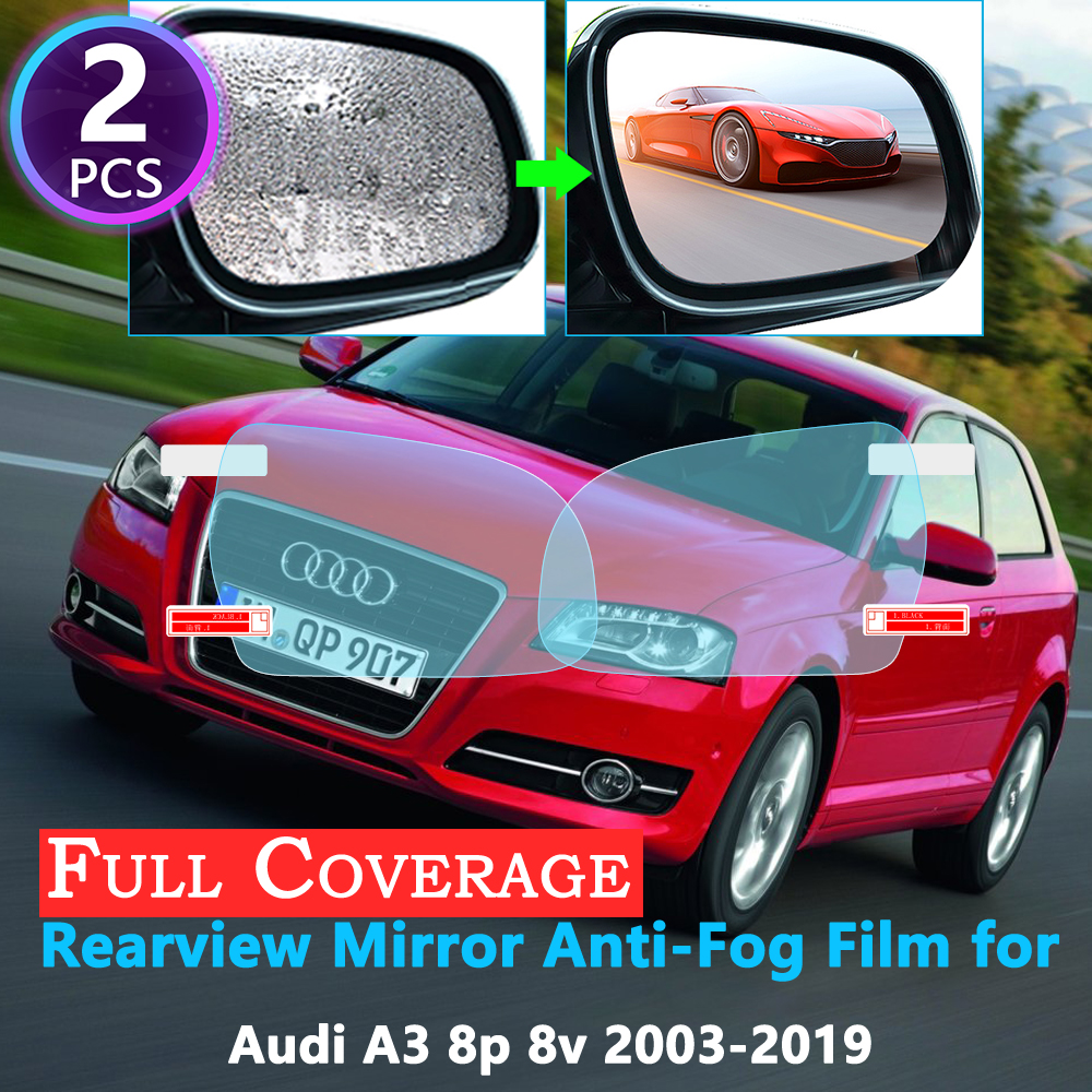 Full Cover Protective Anti-Fog Film for Audi A3 8P 8V S-Line S3 2003~2019 Car Rearview Mirror Rainproof Accessories 2018 2017 image