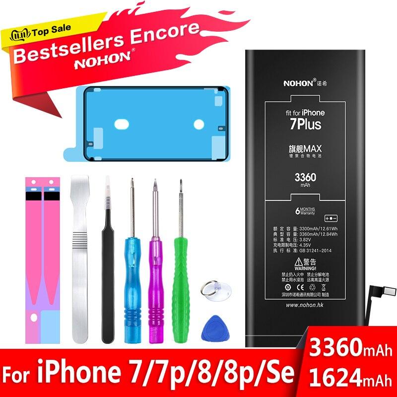 Bateria nohon para apple iphone 7 8 plus se 7 plus 8 mais iphone7 iphone8 7g 8g bateria de polímero de lítio do telefone móvel ferramentas livres
