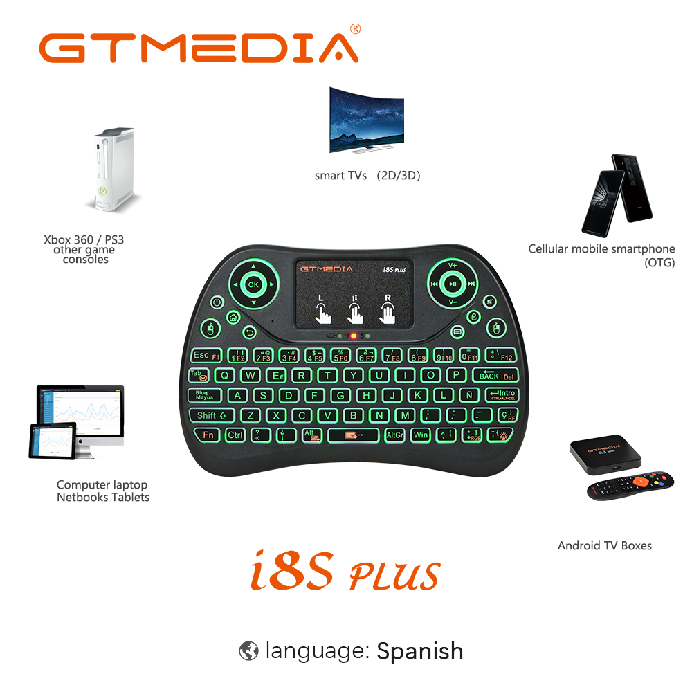 GTMEDIA Backlight I8S Plus I8 Spanish 2.4GHz Wireless Mini Keyboard Air Mouse Touchpad Controller For Android TV BOX Smart Phone