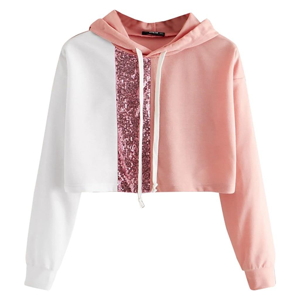 JAYCOSIN Short Ladies Long-sleeved Stitching Sequin Sweatshirt Fashion Casual Sweatshirt Daily Stage Clothing Autumn Winter