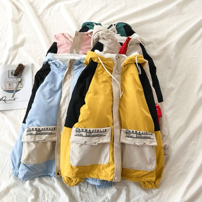 Women Contrast Color Pockets Basic Jacket 2019 Winter Long Sleeve Hooded Jacket Casual Zippers Loose Outerwear Coat