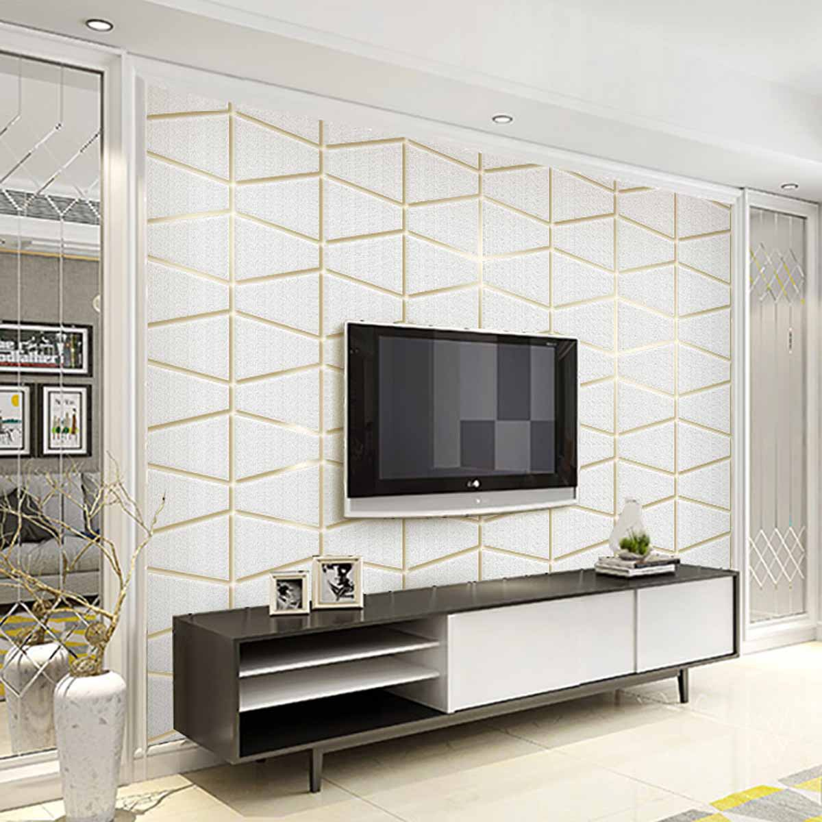Modern Minimalist Geometry Graphics Suede Non-woven Wallpaper Bedroom Relief Bump Background Of Television In The Drawing Room W