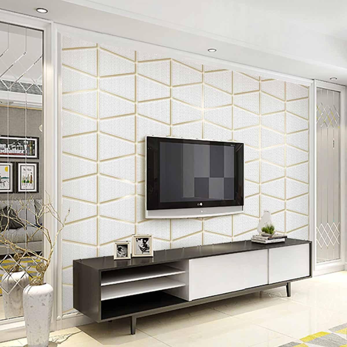 Moderne minimaliste géométrie graphique daim Non-tissé papier peint chambre Relief bosse fond de la télévision dans le salon W
