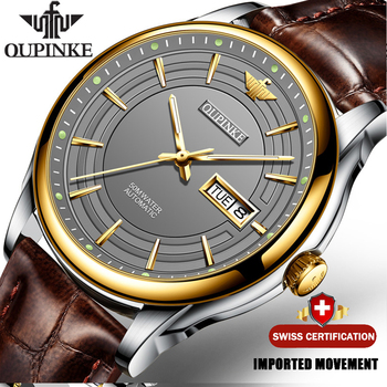 OUPINKE  Men Automatic Mechanical Watch with Genuine Leather Waterproof Japan Movement TOP Brand  Luxury Business reloj hombre leisure automatic mechanical genuine leather waterproof watch with rome digital business for various occasions m172s brown