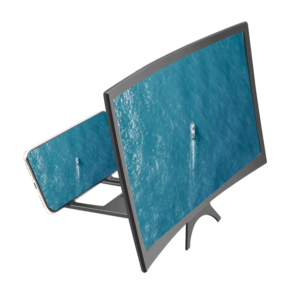 L6 12 Inches 3D Screen Enlarger Video Movie Amplifier  Curved Screen Magnifier Phone Holder Stand