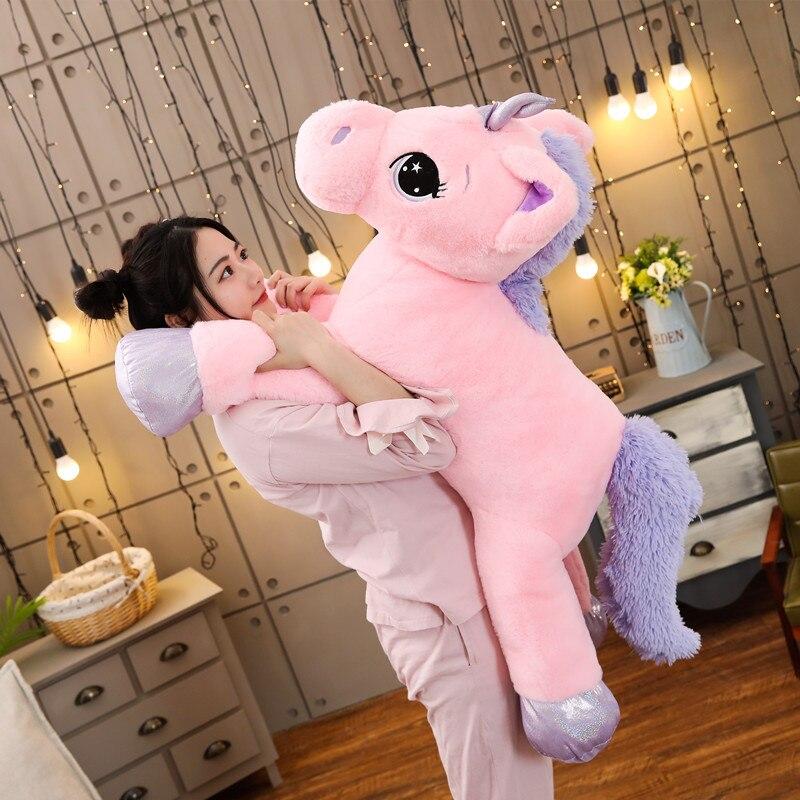 Giant Size Colorful  Unicorn Plush Toy Soft Stuffed Rainbow Unicorn Doll Animal Horse Toy High Quality Gifts For Children Girls