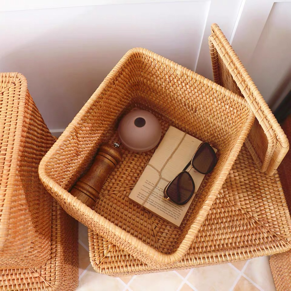 Image 5 - Laundry Basket Wicker Large with Cover Rattan Woven Rattan  Storage Basket with Lid for Dirty Clothes Toys Sundries Storage  Boxbasket with lidstorage basket with lidlaundry storage basket -